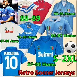Maradona Napoli Retro Soccer Jerseys 1986 1987 1988 1989 1990 1991 1993 Coppa Italia Diego Nàpule 빈티지 Calcio 클래식 남성 축구 셔츠