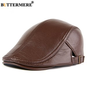 BUTTERMERE Men Beret Hat Real Leather Flat Cap Sheepskin Autumn Winter Male Brown Adjustable High Quality Gatsby Mens Beret Caps C1121
