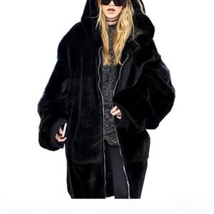 Winter Long Faux Fur Coats Women Fake Fur Thick Solid Outerwear Female Warm Hooded Jackets 2018 Hot Sale Coats Femme
