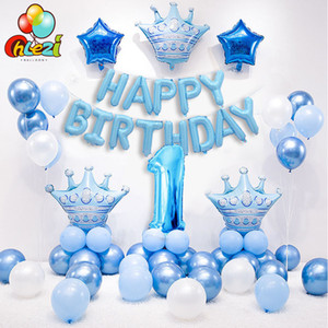1 Set Blue Pink Crown Balloons Balloons Balloons Helium Number Foil Balloon per Baby Boy Girl 1st Birthday Party Decorations Bambini Doccia Q1124