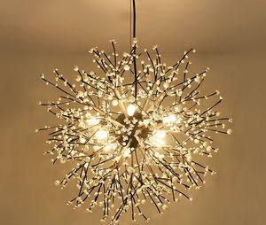 Nórdico Artístico LED Orb Sphere Chandelier Fogos de artifício Aclic Dandelion Chandelier Interior Designer Decorativo Lustre Suspensão Frete Grátis