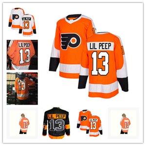 Custom Lil Peep #13 Philadelphia Flyers Hockey Jerseys Best Quality Stitched Name Number Orange Black White Mens S-XXXL