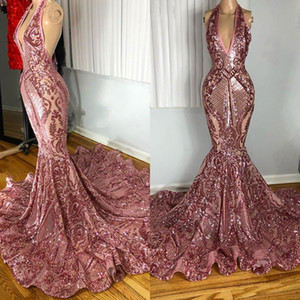 Sparkly Long Mermaid Prom Dresses 2021 Sexy Slim Mermaid Rose Gold Sequined African Black Girls Party Prom Dress For Women