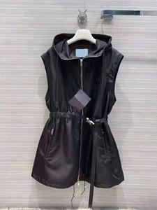 Giacca da donna Gilet a lungo con maniche a vento incappucciata Rimuovere le cappotti con cintura per la giacca signora sottile bianca e nera Due opzione dimensione S-L