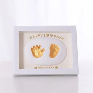 Hoja de bebé Marco de fotos No tóxico Handprint Clay Kit de fundición de bricolaje para bebés recién nacidos Recuerdos y regalos para niños Bebés Artículos de bebés