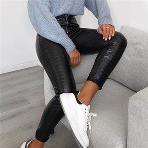 Zarif Yüksek Bel PU Deri Pantolon Kadın Kalem Sıska Pantolon Ofis Bayanlar Pantolon Kadınlar için Rahat Ince Siyah
