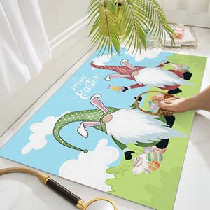 Easter Gnomes Doormats Multi-patterns Dwarf Easter Rabbit Eggs Entrance Rugs 16x24in Non-slip Bathroom Front Door Carpet