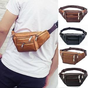 Men Leather Waist Bag Casual Waterproof Sport Waist Belt Bum Pouch Fanny Pack Camping Running Hiking Zip Bag