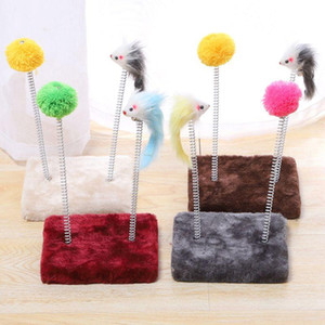 Funny Cat Climbing Frame Spring Mouse Stick Teasing Interactive Toy with Fluffy Ball Portable Beautiful Interesting
