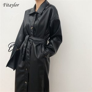 FitAylor Pu Long New Women Loose Belt Faux Couro Windbreaker Trench Revestimento Slim Spring Jacket Y201012