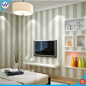 Simple modern green striped bedroom living room TV background wall paper vertical strips study dormitory DZAS-Cj wallpaper