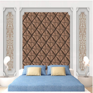 3d customized wallpaper White wall panel European pattern crystal soft package wallpapers 3D TV background wall