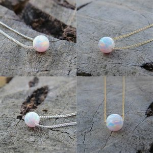 Round Blue White Opal Pendant Collane Cubic Zirconia Circle Collana Regali di compleanno A30