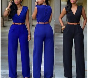 2019 Summer Female Sexy plus size Jumpsuit Sleeveless V neck Long Pants Elegant Rompers womens Playsuit overalls for women
