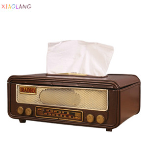 XIAOLANG Retro Radio Shape Tissue Paper Box Napkin Storage Box Container Paper Towel Holder Tissue Box Case for Home Bar Office Z1123