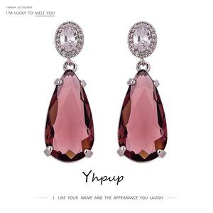 YHPUP Mode Marke Bling Zirkonia baumeln Ohrringe Aussage Kristall Wasser Drop Ohrringe Hochzeit Schmuck