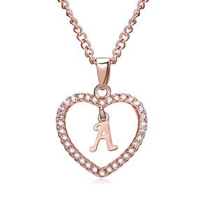 corazón de la manera Rinhoo regalos Carta de los collares pendientes A-letra Z en oro rosa de aleación Declaración de la cadena de joyería elegante femeninos