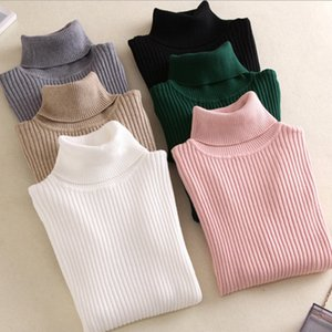 New Women Sweaters High-Collared Sweater New Women'S Long-Sleeved Slim Pure Color Small Fresh Knit Women'S Undershirt