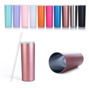 20oz Skinny Stainless Steel Tumbler Straight Cup wall water bottle Insulated coffee Mug Flask thermos rose gold with straws WD951027