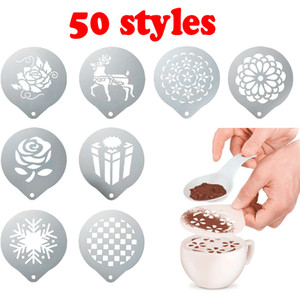50style Stainless Steel Garland Mold Fancy Coffee Printing Model Mould Thick Cafe Foam Spray Template Barista Stencils Decoration Tool