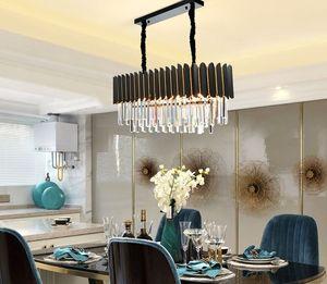 Luxury crystal living room chandelier modern creative bedroom study dining room rectangular stainless steel luster lighting