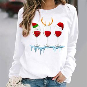 Womens Designer Tshirts Fashion Long Sleeved Christmas Hat Print Spring Autumn Tops For Woman Slim Tees