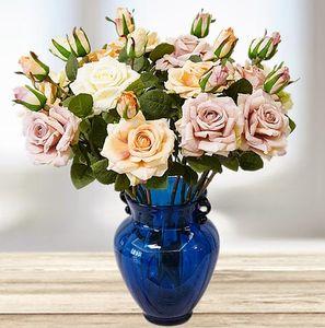 48cm artificial rose flower 2 heads home Decorative silk Flowers plant pink white diy flowers bouquet
