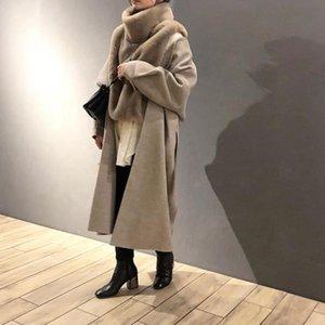 Réservation 2020 nouveau manteau de laine double face peignoir paragraphe de laine manteau pure couleur longue fourrure
