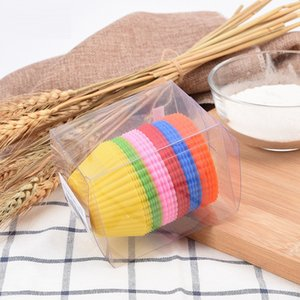 {New}Round 7cm Silicone Cupcake Cups 6 Color 24 pcs Muffin Pan Bakeware Pastry Tools Kitchen Accessories DHC1967