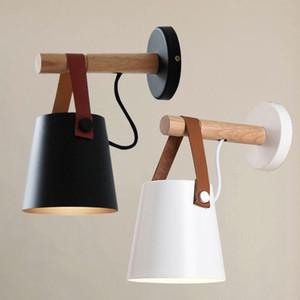 Nordic Wooden Lamp Lâmpada de ferro Ferro Sconce Metal Cinto de Couro de Madeira Iluminação Branco Black para Beber Café Bar Sala de estar