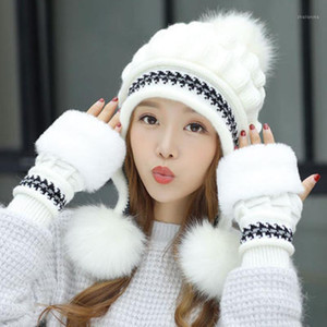 Girls Thicken Ski Snow Cap New Fashion Fur PomPoms Winter Women Beanie Hats Female Skullies Warm Gloves + Knit Hat Set1