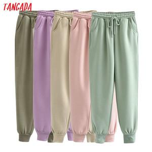 Tangada 2021 Autumn Winter Women thick fleece 100% cotton long pants warm high quality big strethy waist trousers 6L16