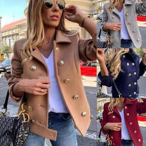 GOOHOJIO New Winter Women Wool amp; Blends Short Coats Jackets Casual High Quality Warm Overcoat Fashion Long Coats Double Breasted