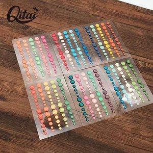 Pegatina de puntos de Qitai 6 Shoeets / lot Scrapbooking Sparkle brillo pegatinas de azúcar asperja la etiqueta de resina de esmalte autoadhesivo ES0311