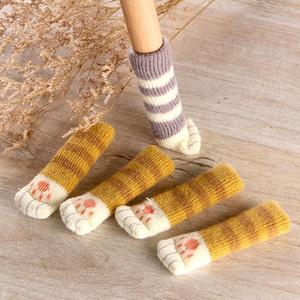 4 stücke Katzentisch Fuß Socken Stuhl Beinabdeckungen Bodenschutz Rutschfeste Stricksocken Für Möbel Cartoon Wohnkultur