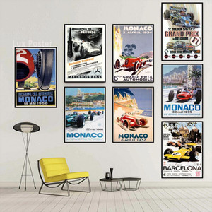 Grand Prix Super Racing Car Retro 2006 Monaco Race 64th Motor Poster Wall Art Canvas Wall Picture Painting For Room Home Decor