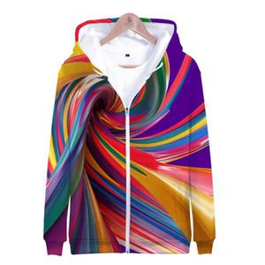 Personalidad 3D Corbata de impresión Dye Flashbacks Hombres con capucha Hombres Mujeres Coloridas sudaderas sudaderas Sudadera Harajuku Oversized Zipper Tops
