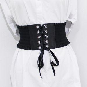 Yenilik Vintage kadın elastik geniş cummerbunds esnek korse kadın siyah cincher kemer bayan elbise aksesuarları için kemer kemerleri
