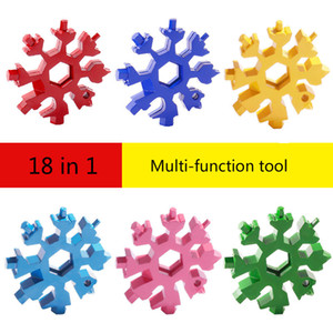 18 In 1 Multifunctional Creative Snowflake Wrench Tool Steel Octagonal Small Wrench Hexagonal Portable Camp Outdoor Survive Tool