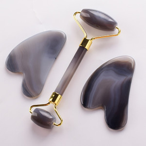Agate Facial Roller And Gua Sha Set Natural Stone Scraping Board Tools For Face Massage Health Neck Beauty Skin Detox Massager