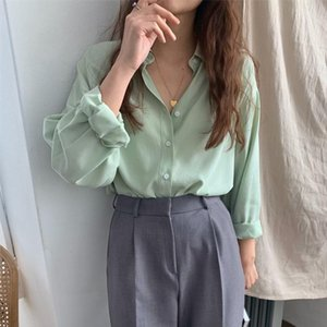 HziriP 2020 Hot Green Solid All Match High Quality Loose Blouses Sweet Full Sleeves Fresh Elegant Chic Casual Office Lady Shirts