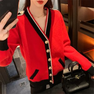 Contrasting Color Knitted Cardigan Women Loose Lazy Casual Red Sweater Coat V-neck Striped Autumn Winter Pockets Female 201124