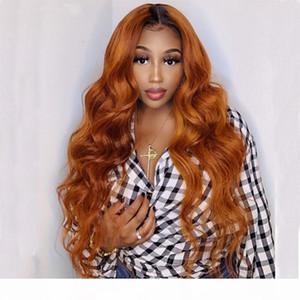 Wavy Ombre имбирь блондинки без глееных кружева передних париков для женщин, предотвращенные волосяные волосы Оммре Оранжевый человеческий волос кружевных париков с волосами