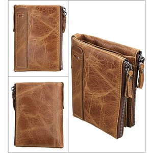 Cowhide Leather Wallets Short Purse Coin Pockets Anti RFID Card Holders Double Zipper Men Fashion Money Clip