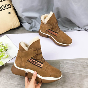 Warm snow boots new winter wool leisure sports all-match thick-soled fur shoes