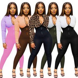 Women Jumpsuit Slim Sexy Fashion Irregular Printed Long Sleeve Bodysuit Zipper one piece pants Ladies Casual Multicolor Rompers 2020