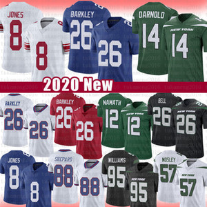 26 SAQUON BARKLEY 8 DANIEL JONES 88 EVAN Engramet Football Jersey 14 Sam Darnold Le'veon Bell 12 Joe Namath 57 C.J. Mosley 95 Quinnen Williams