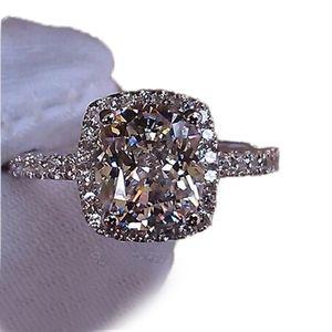 Taglia5 / 6/7/8/0 / 10 monili 925 925 Sterling Silver riempito Bianco Sapphire Gem Zirconia Gold Women Wedding Engagement Band Ring Regalo 59 N2