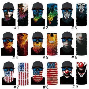 해골 매직 스카프 미국 국기 두건 절반 얼굴 24 * 49cm 머리띠 터번 스키 자전거 용 마스크 CYZ2916 마스크