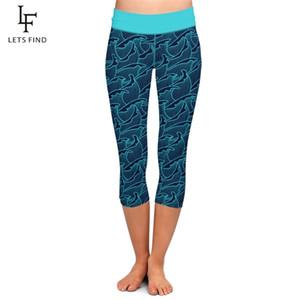 LETSFIND New Fashion Sea Wave Digital Printing High Waist Elasticity Plus Size Capri Leggings Fitness Legging for Women Q1123